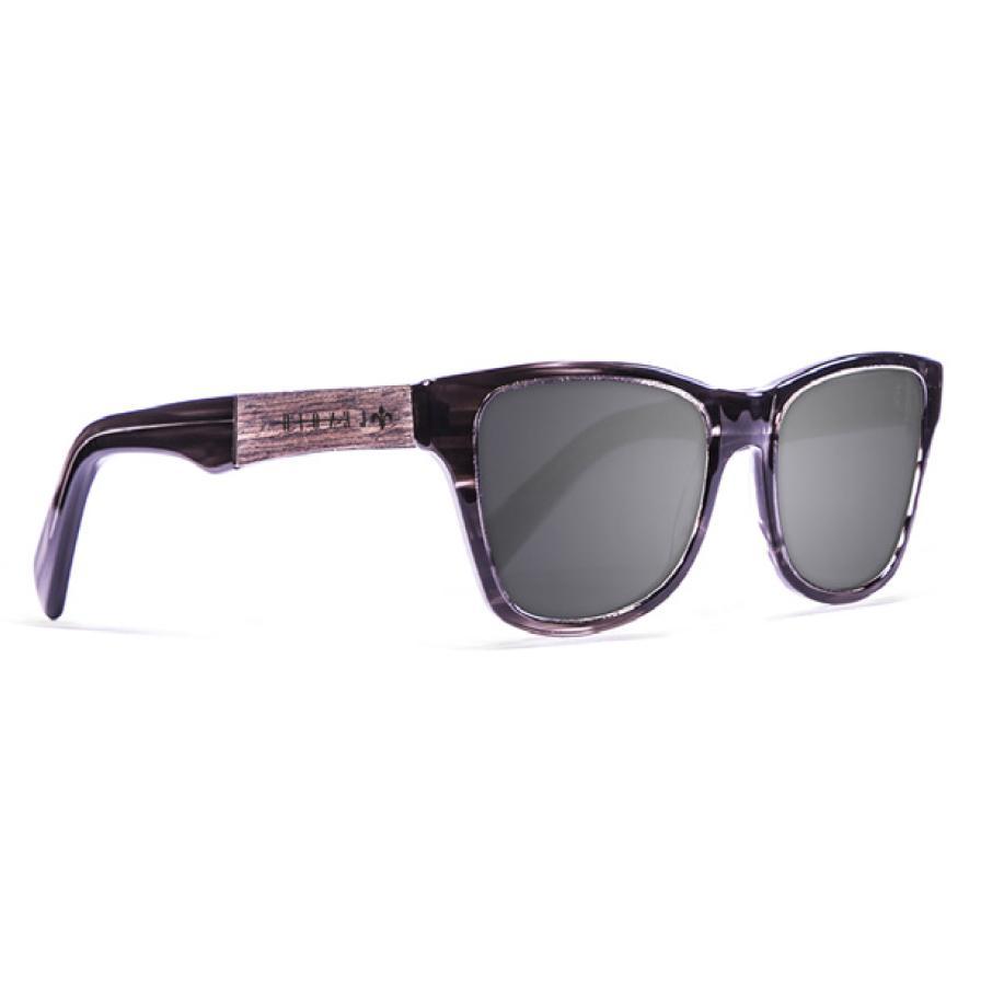 Lenoir Eyewear Marius Grey/CAT3 Shiny Black Frame. Elm Burk & Gold Line Arm