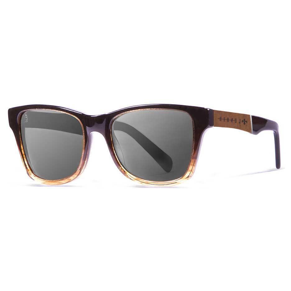 Lenoir Eyewear Marius Grey/CAT3 Shiny Black & Stripped Frame. Ebony & Silver Line Arm