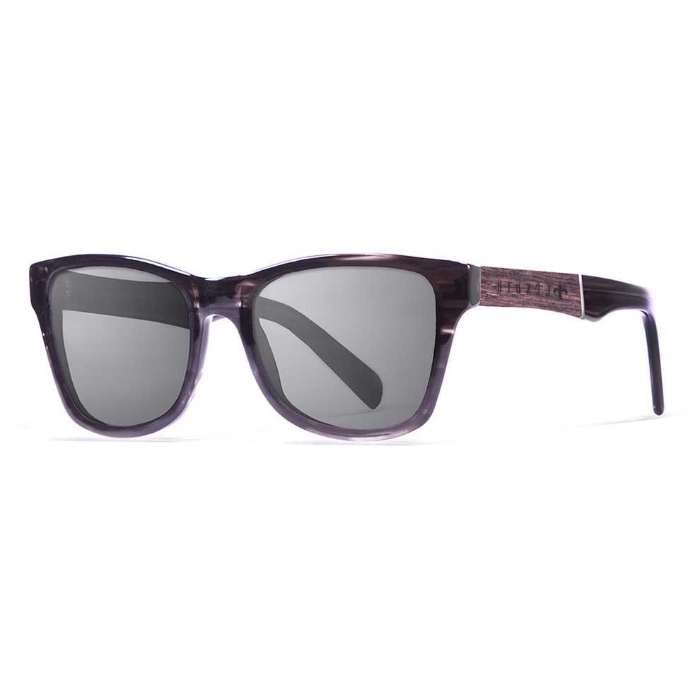 Lenoir Eyewear Marius Shiny Brown & Stripped Frame. Elm Burl & Gold Line Arm/CAT3 Grey