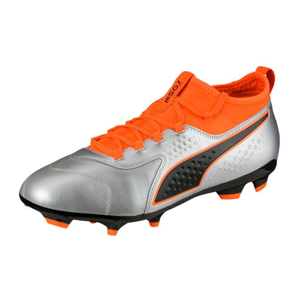 Puma One 3 Leather Ag Football Boots EU 42 1/2 Puma Silver / Shocking Orange
