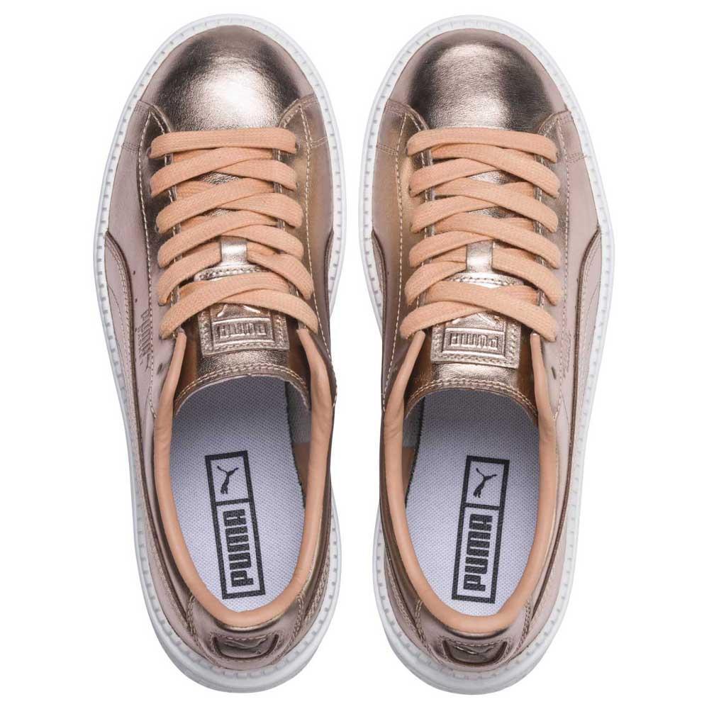 Detalles de Puma Select Basket Platform Trace Luxe Dorado T95091 Zapatillas Mujer Dorado