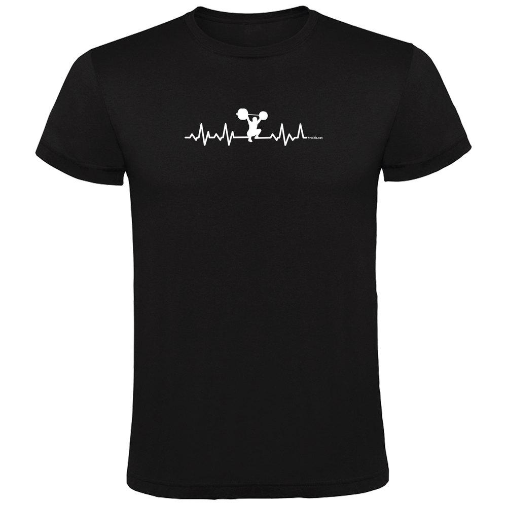 Kruskis T-shirt Manche Courte Fitness Heartbeat Short Sleeve T-shirt S Black