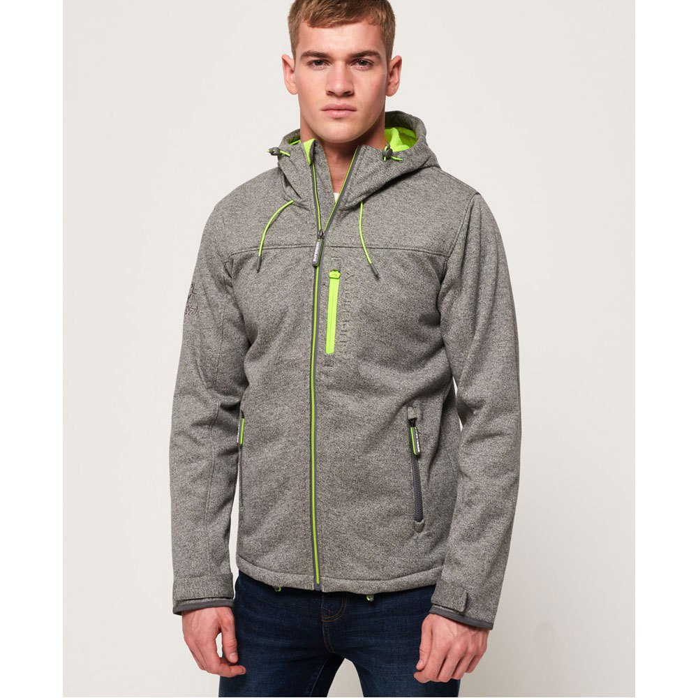 Superdry Hooded Windtrekker M Mountain Gry Marl / Safety Yellw