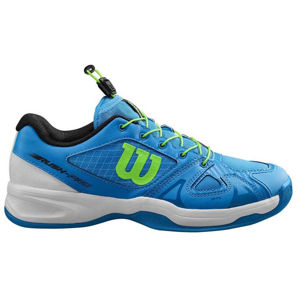 Wilson Zapatillas Moqueta Rush Pro Ql EU 32 2/3 Brilliant Blue / White / Green Gecko