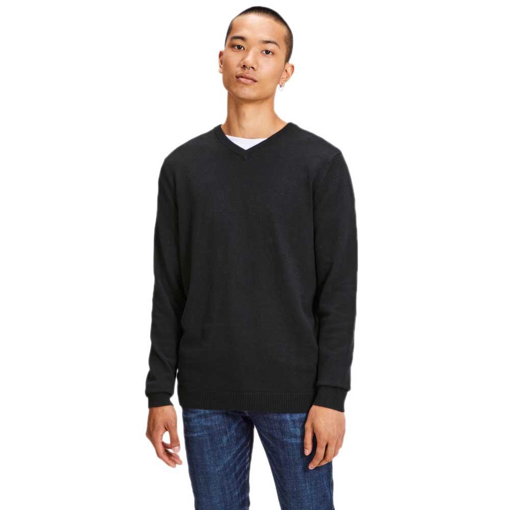 Jack & Jones Essential Basic Knitted V Neck M Black