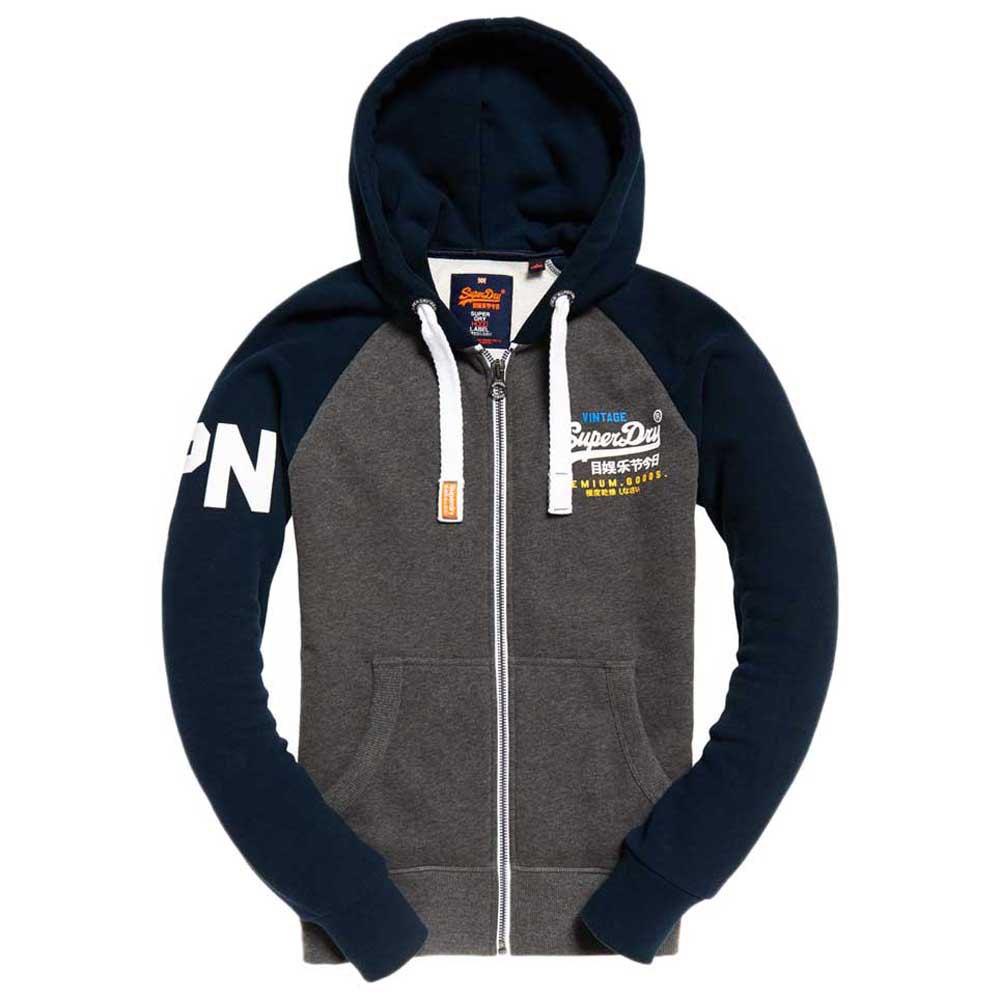Superdry Premium Goods Raglan Blau , Pullover Superdry , mode , Herrenkleidung