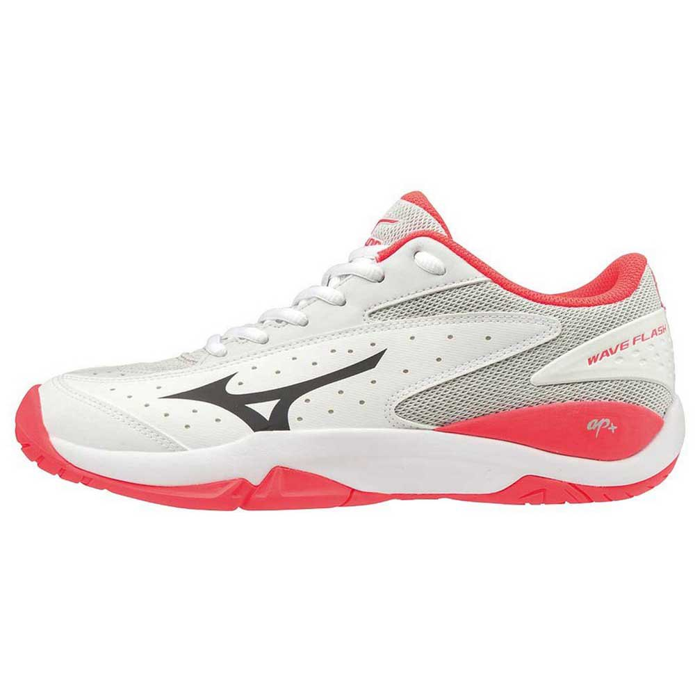 Mizuno Wave Flash All Court EU 40 1/2 White / Dark Shadow / Fiery Coral
