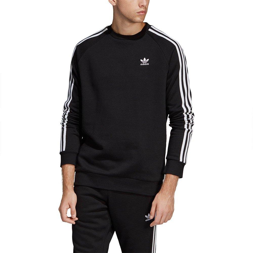 Detalles de Adidas Originals 3 Stripes Crew Negro T53025 Sudaderas Negro , Sudaderas