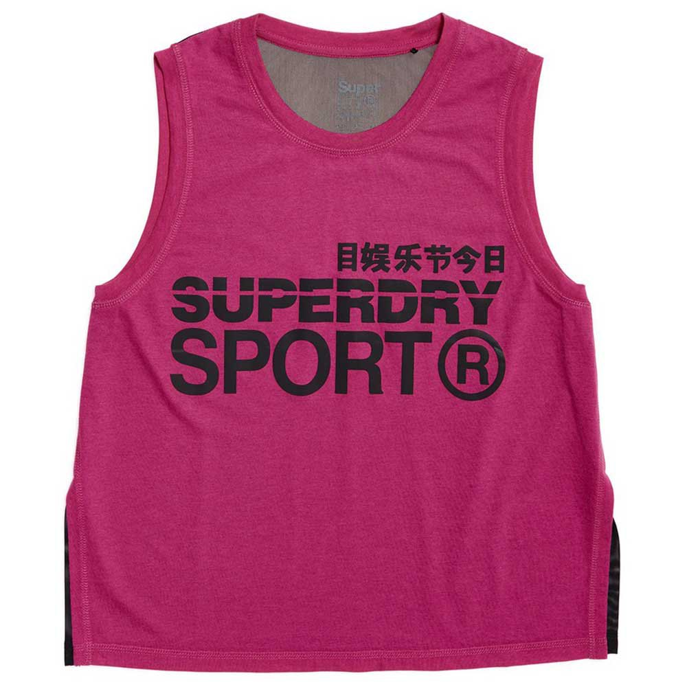 Superdry T-shirt Sans Manches Active Loose S Super Pink