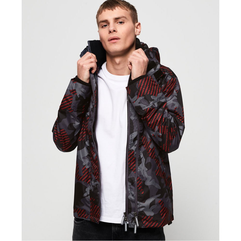 Détails sur Superdry Technical Print Pop Windcheat Rouge|Gris T91394 Vestes Homme , Vestes