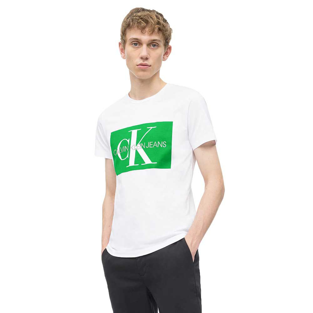 Calvin Klein Jeans Monogram Box Logo Slim M Bright White/ Jolly Green