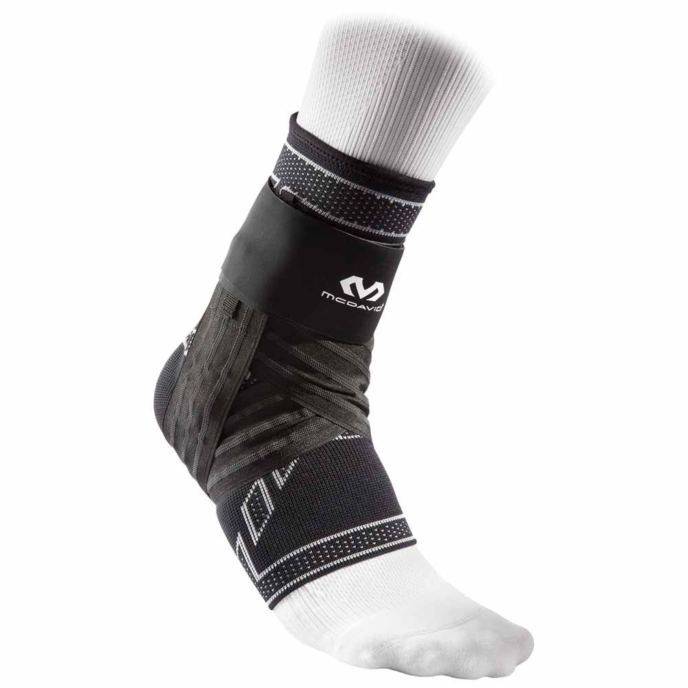 Mc David Elite Engineered Elastic Ankle Brace With Figure-6 Strap And Stays M Black