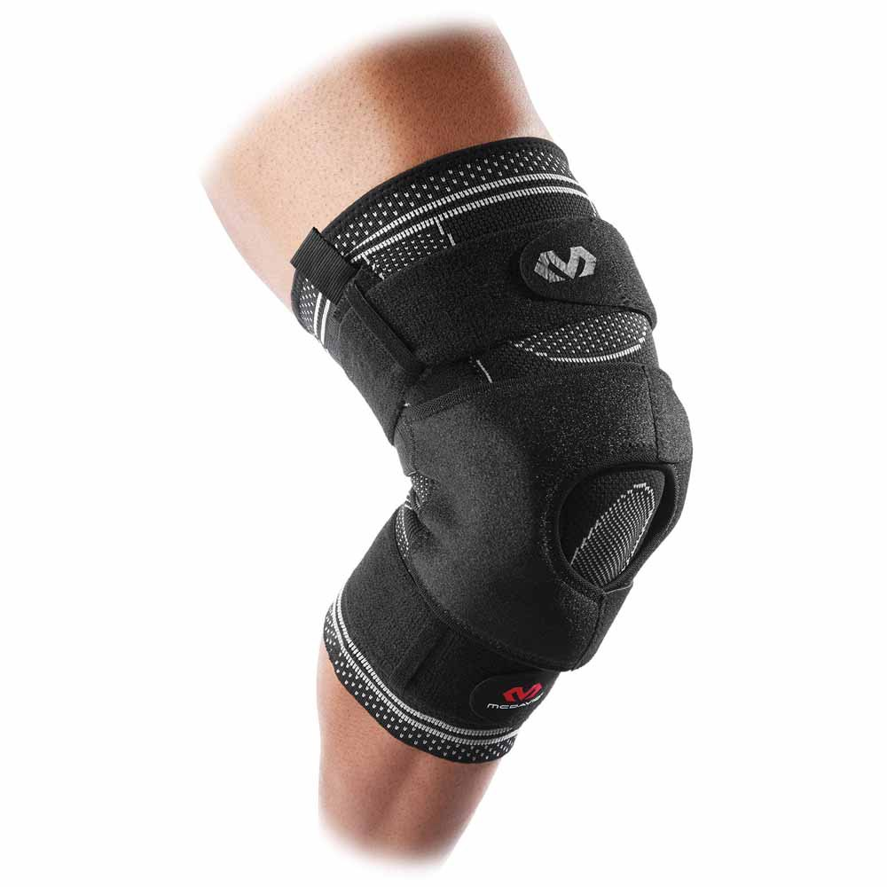 Mc David Elite Engineered Elastic Knee Brace With Dual Wrap And Hinges M Black