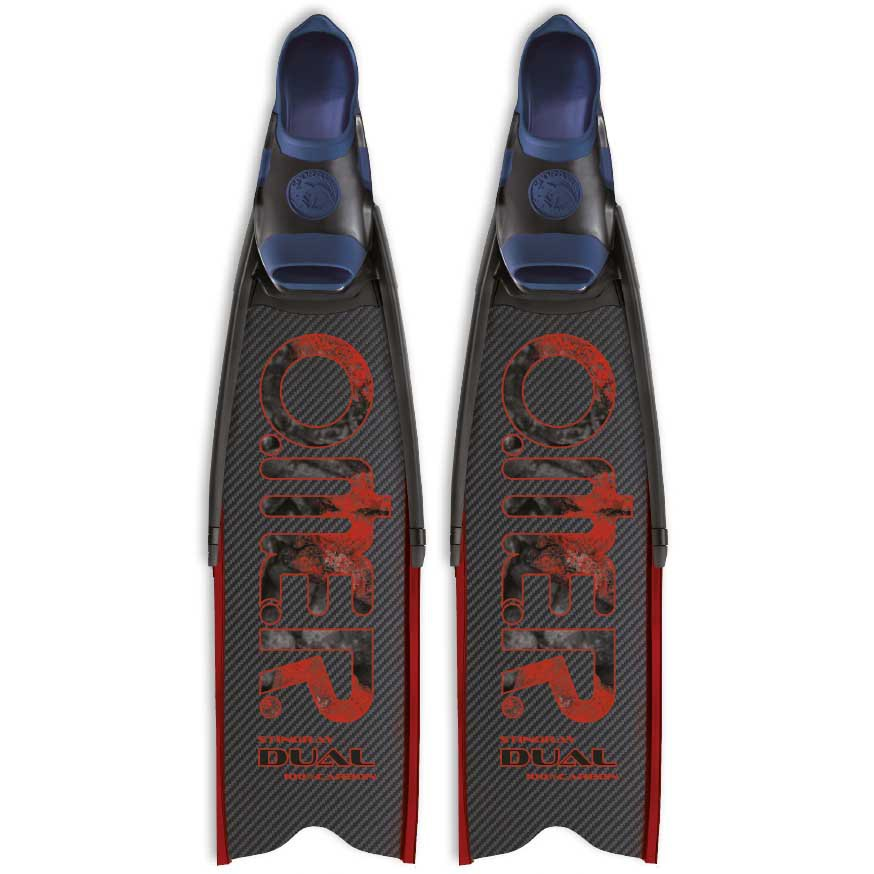 Omer Stingray Dual Carbon Frau Spear Fishing Flossen EU 37-39 Black Blue Red Geschlossene Flossen Stingray Dual Carbon Frau Spear Fishing Flossen
