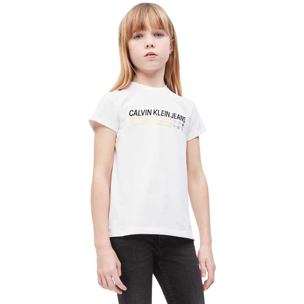 new style 4bede 5e328 Dettagli su Calvin Klein Logo & Star Slim Fit Bianco T04108/ Magliette  Donna Bianco , moda