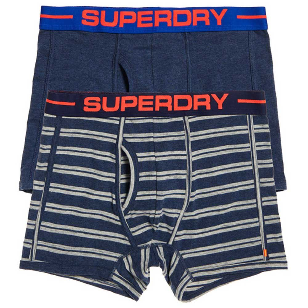 Superdry Sport Boxer Double Pack XXL Navy Marl / Polo Stripe Nvy Marl