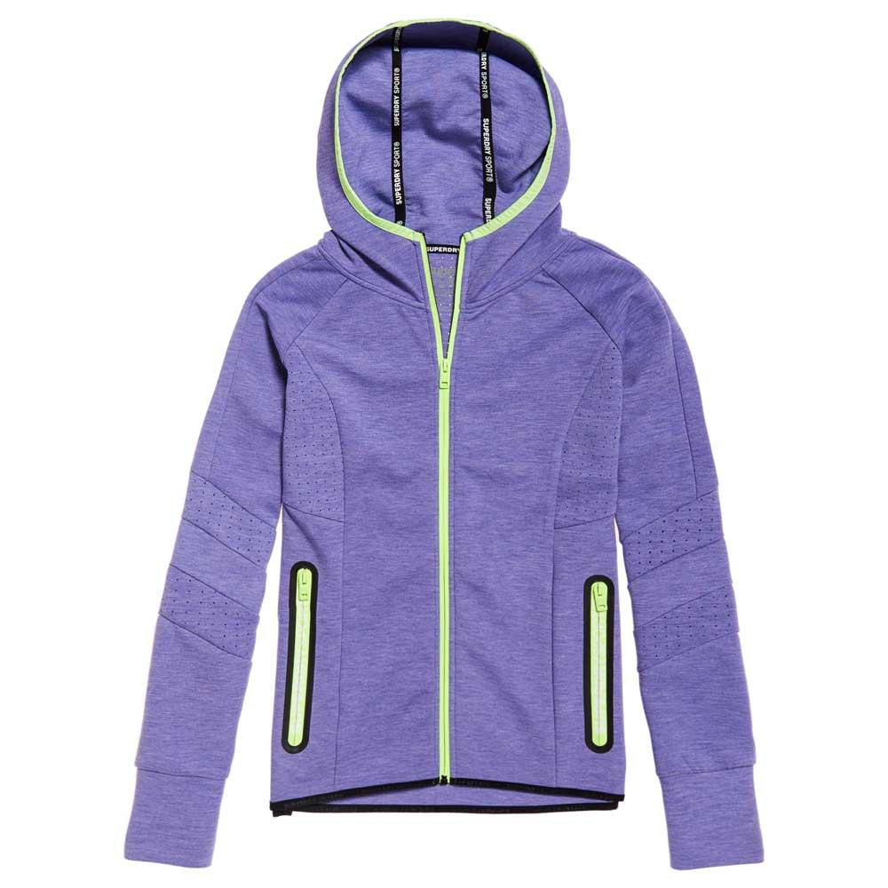 Superdry Sweat À Fermeture Core Gym Tech Panel M Purple Vibe Marl