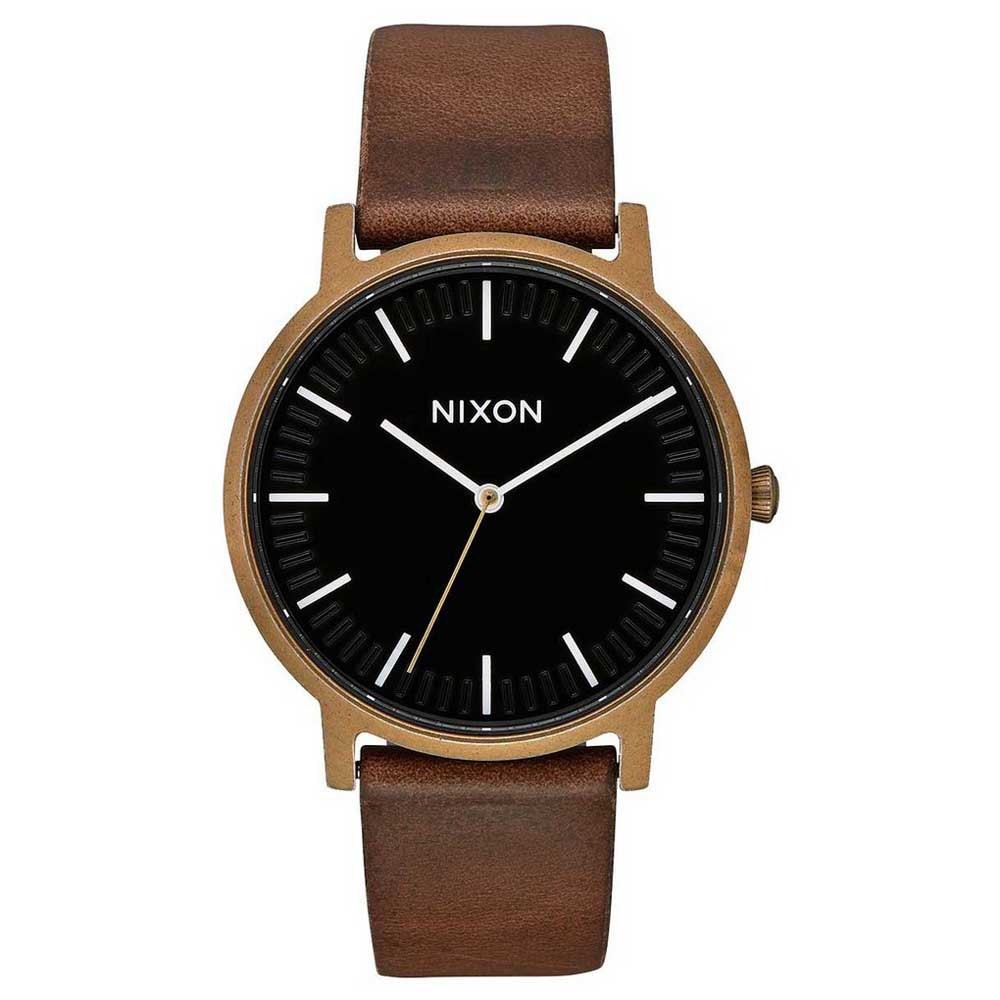 Nixon Porter Leather 40 mm Brass / Black / Brown