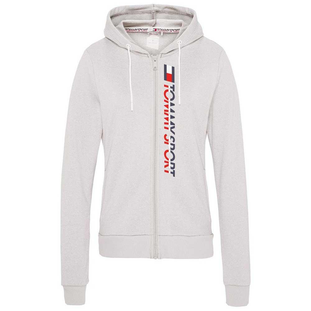 Tommy Hilfiger Sportswear Zip-thru Large Vertical Logo Hoody XS Grey Heather