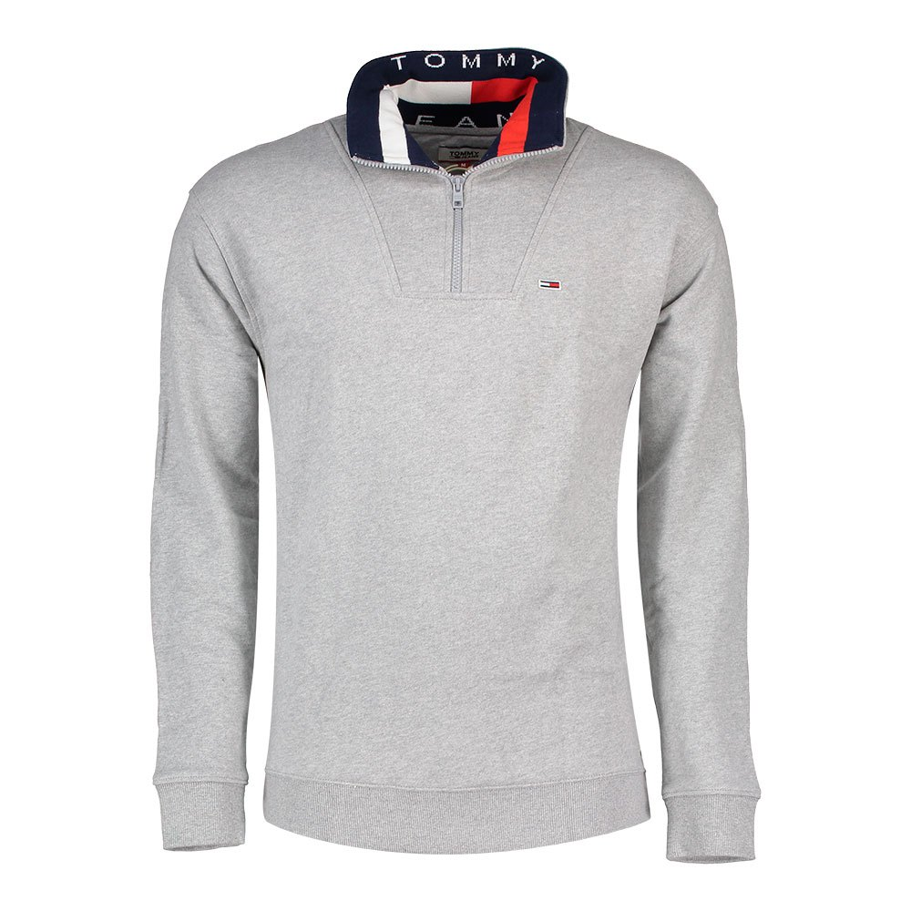 Tommy Hilfiger Solid Zip Mock Neck M Leather Grey Heather