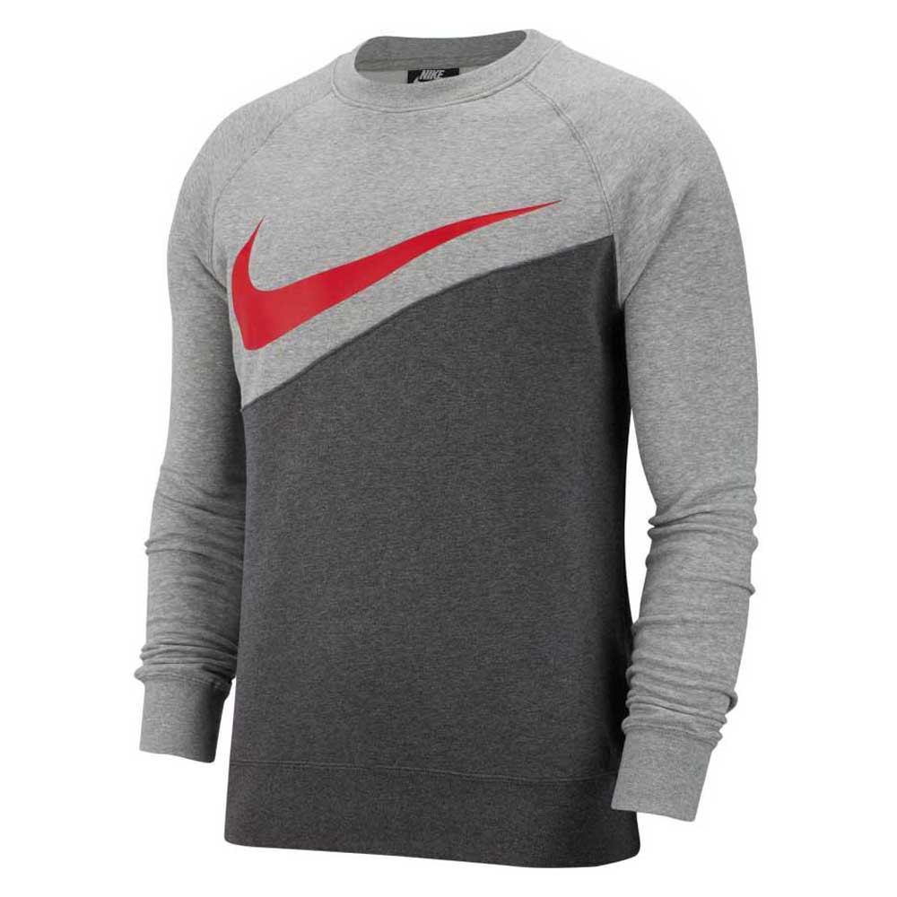 Nike Sportswear Swoosh Crew Bb XL Charcoal Heather / University Red