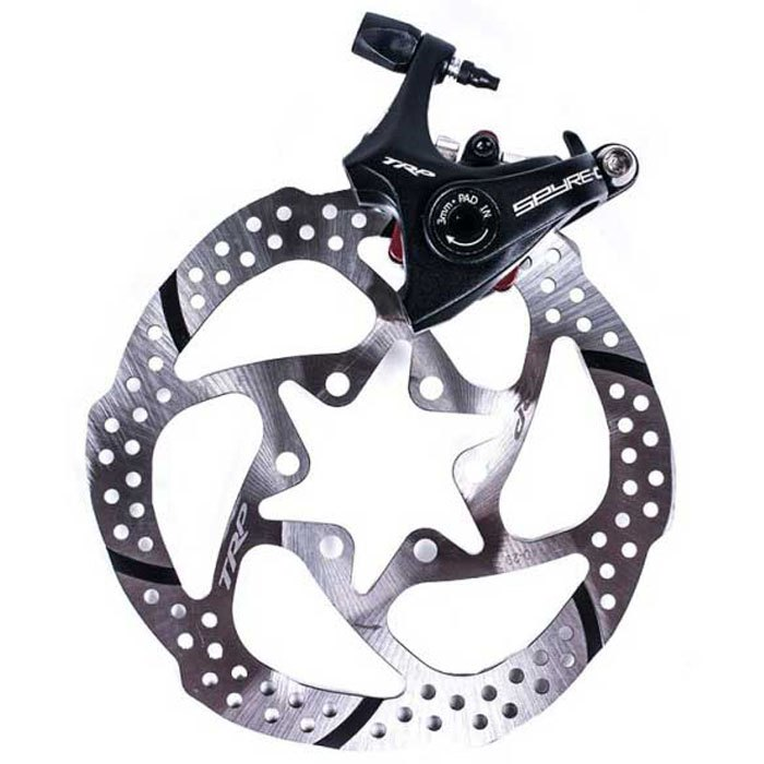 Trp Spyre C Flatmount Rear Caliper With Rotor 140 mm Black / Silver