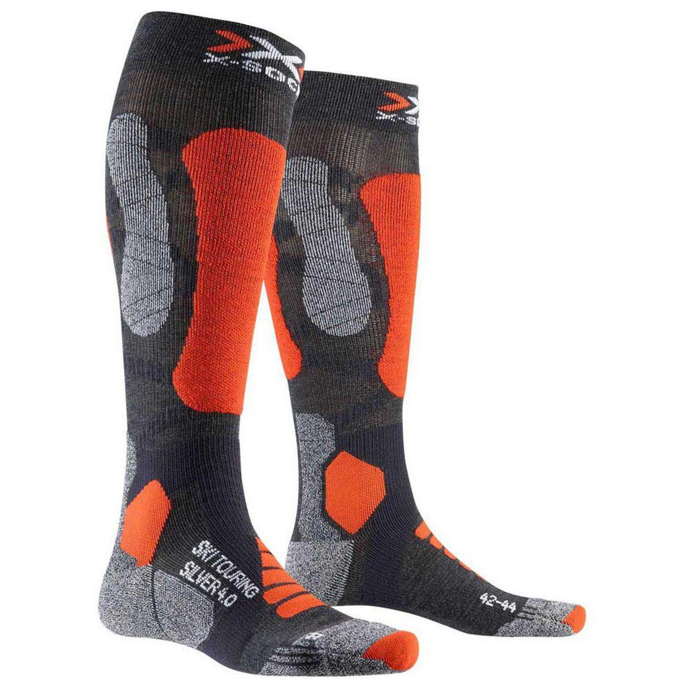 x-socks-ski-touring-silver-4-0-eu-35-38-anthracite-melange-orange-fluo