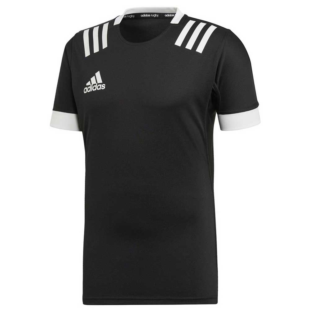 Adidas 3 Stripes Fitted Rugby L Black / White