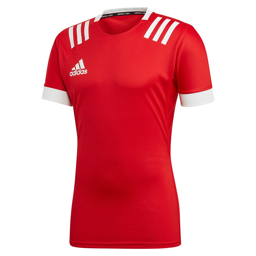 Adidas 3 Stripes Fitted Rugby L Scarlett / White