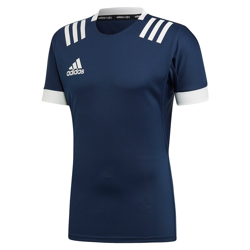Adidas 3 Stripes Fitted Rugby L Collegiate Navy / White