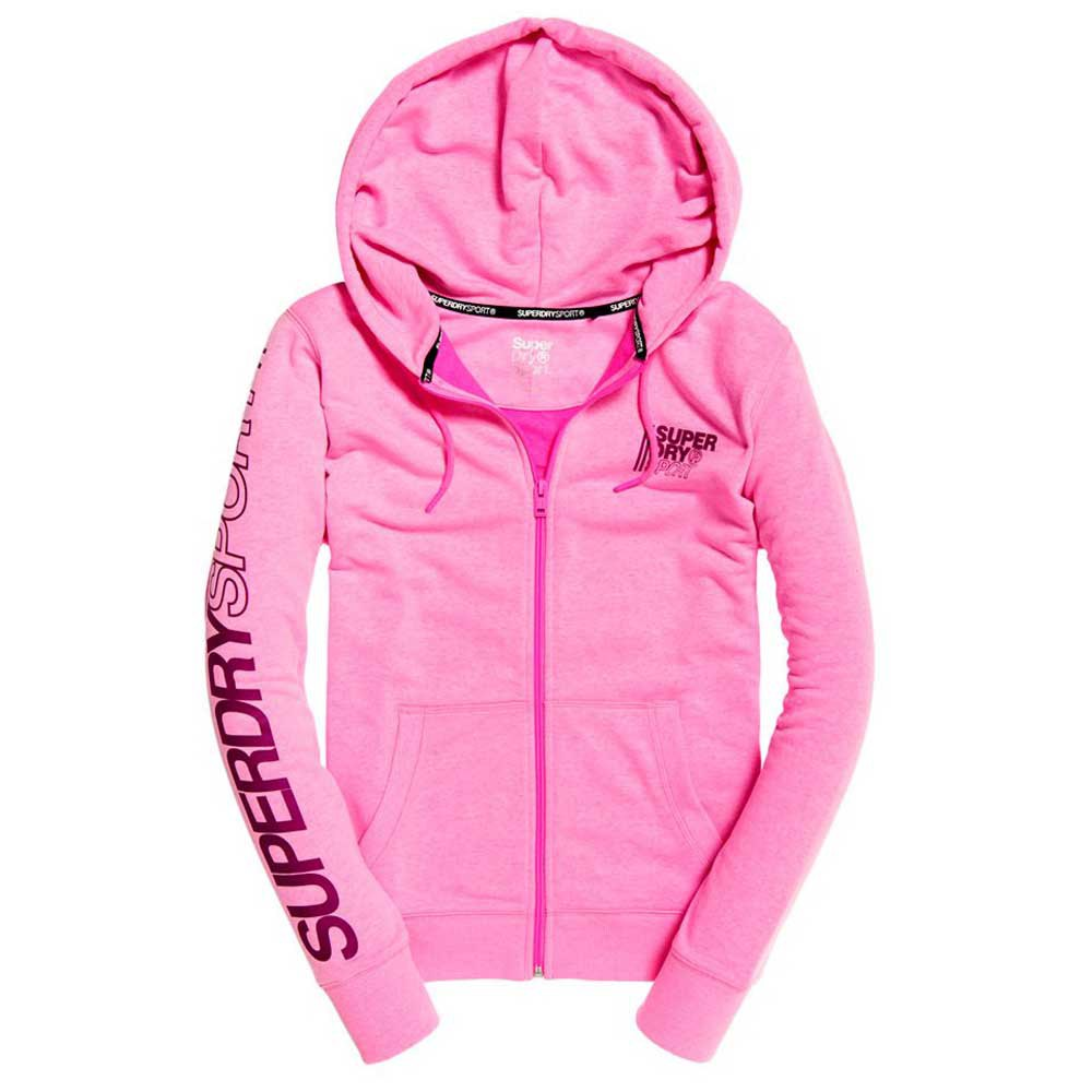 Superdry Sweat À Fermeture Core Sport M Sugar Pink Marl