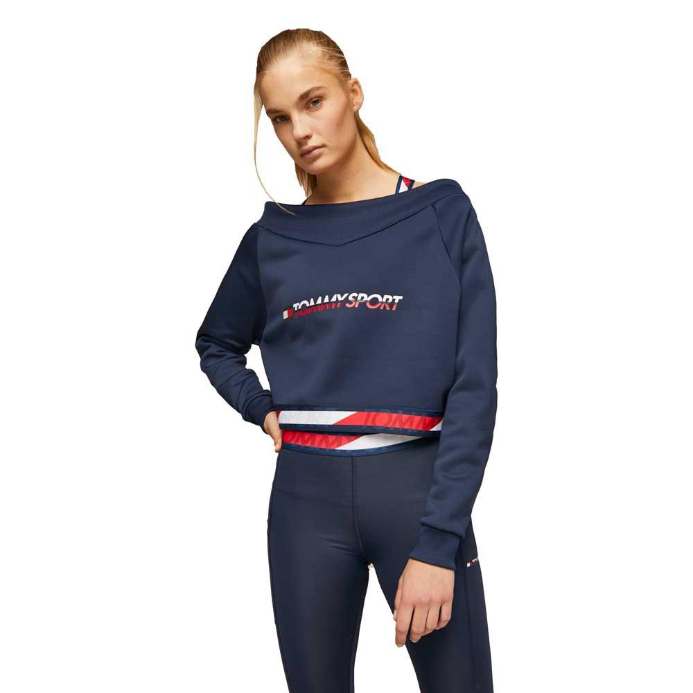 Tommy Hilfiger Sportswear Sweatshirt Crop Tape V Neck M Navy