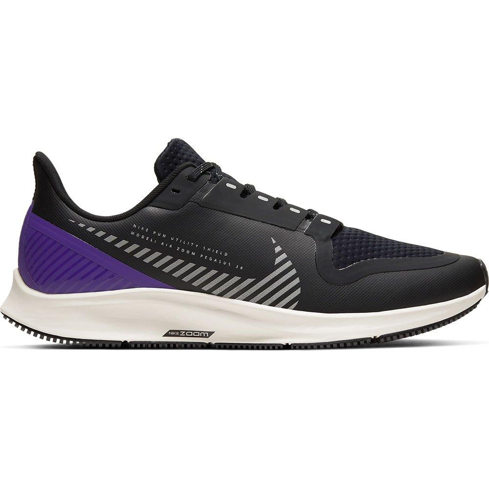 Nike Air Zoom Pegasus 36 Shield EU 44 Black / Silver / Desert Sand / Voltage Purple