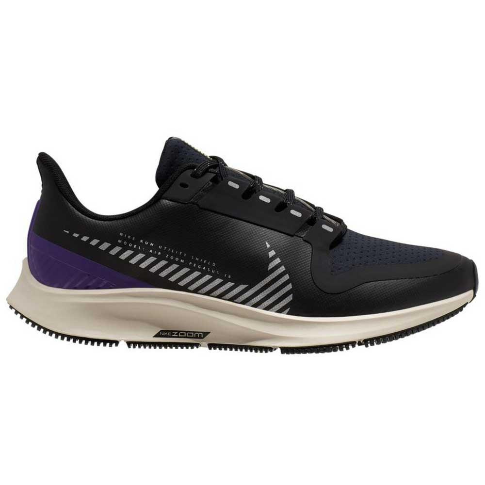 Nike Air Zoom Pegasus 36 Shield EU 36 1/2 Black / Silver / Desert Sand / Voltage Purple