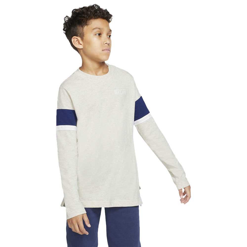 Nike Air T-shirt Manche Longue M Oatmeal Heather / Blue Void / White / White
