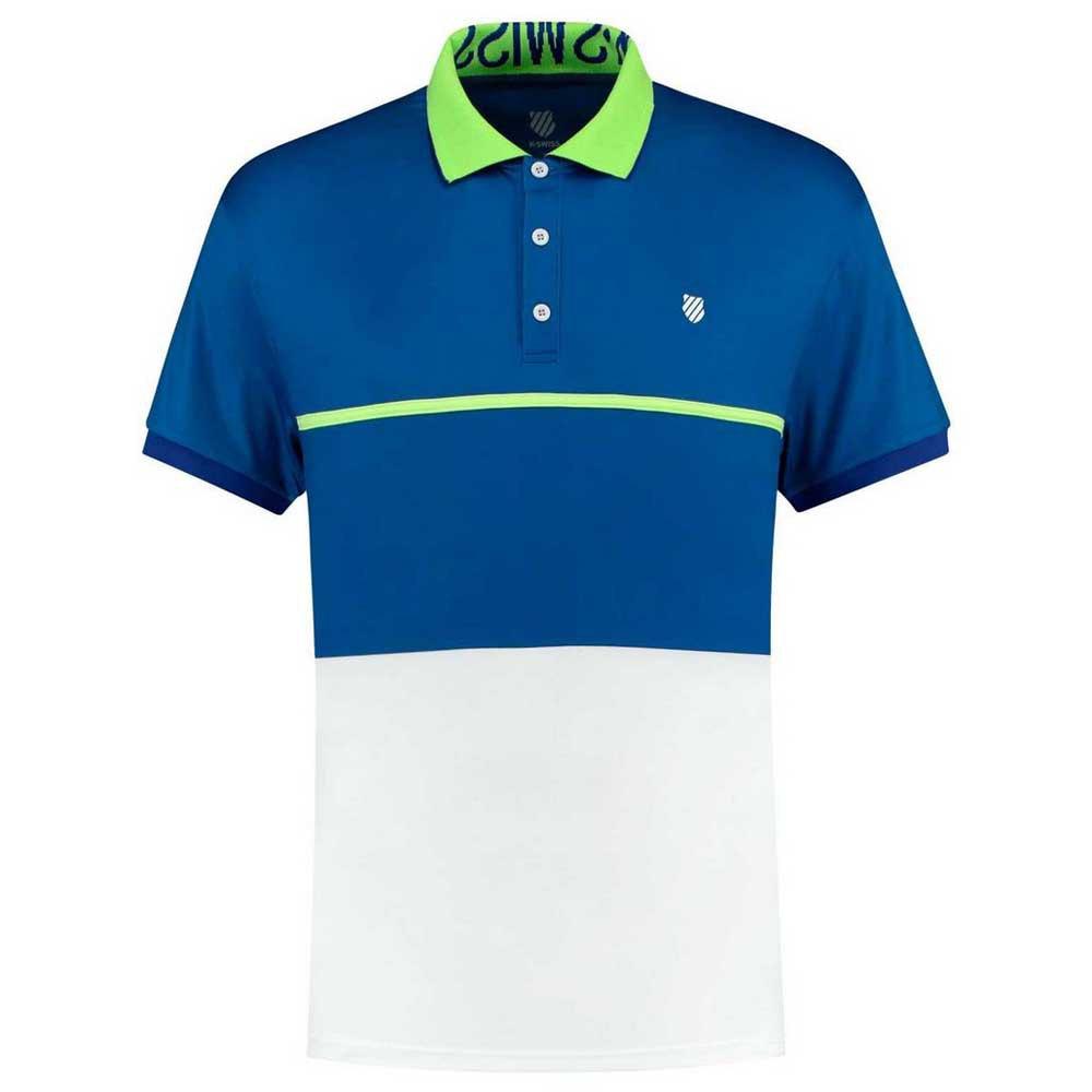 K-swiss Polo Manche Courte Hypercourt Express L White / Sodalite Blue / Web Blue
