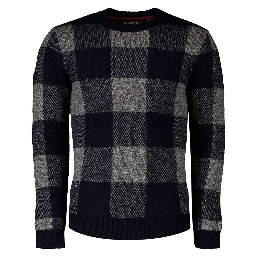Superdry Academy Check Crew S Navy Check