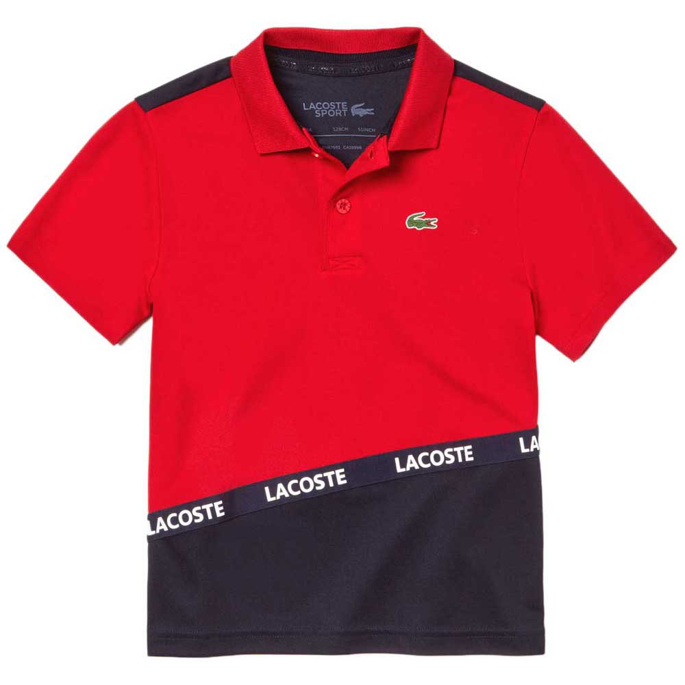 Lacoste Sport Signature Band Colorblock Breathable Pique 14 Years Red / Navy
