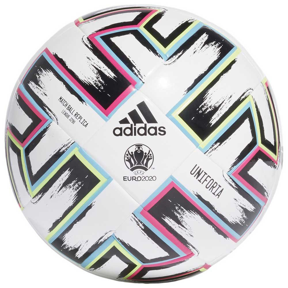 Adidas Uniforia League J290 Uefa Euro 2020 Football Ball 5 White / Black / Signal Green / Bright Cyan