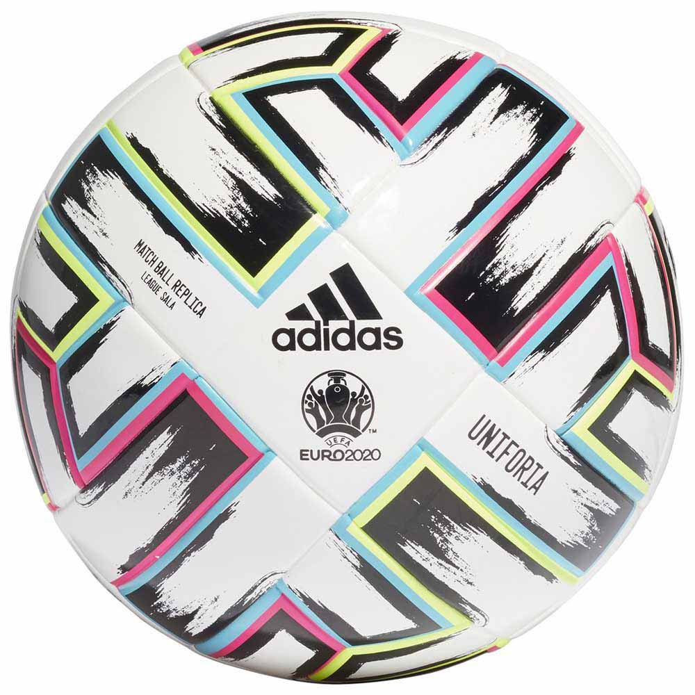Adidas Uniforia League Sala Uefa Eeuro 2020 Indoor Football Ball 3 White / Black / Signal Green / Bright Cyan