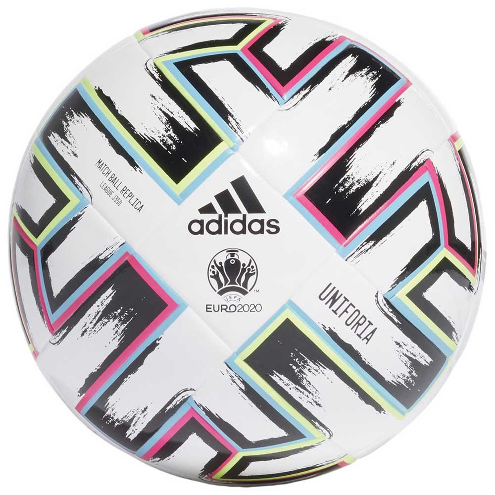 Adidas Uniforia League J350 Uefa Euro 2020 Football Ball 5 White / Black / Signal Green / Bright Cyan