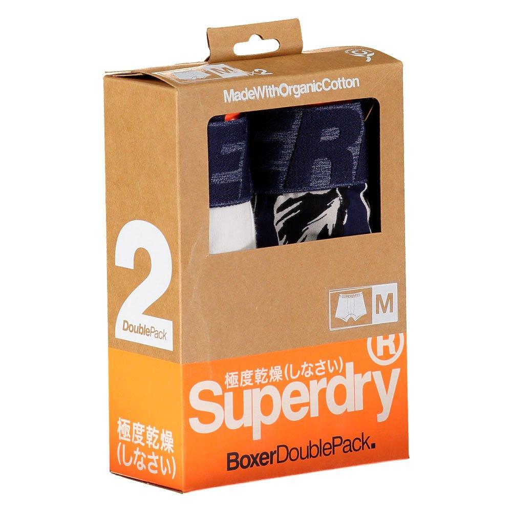 SUPERDRY BOXER 2 PACK UNTERWÄSCHE HERRENKLEIDUNG WEISS,BLAU BOXERS