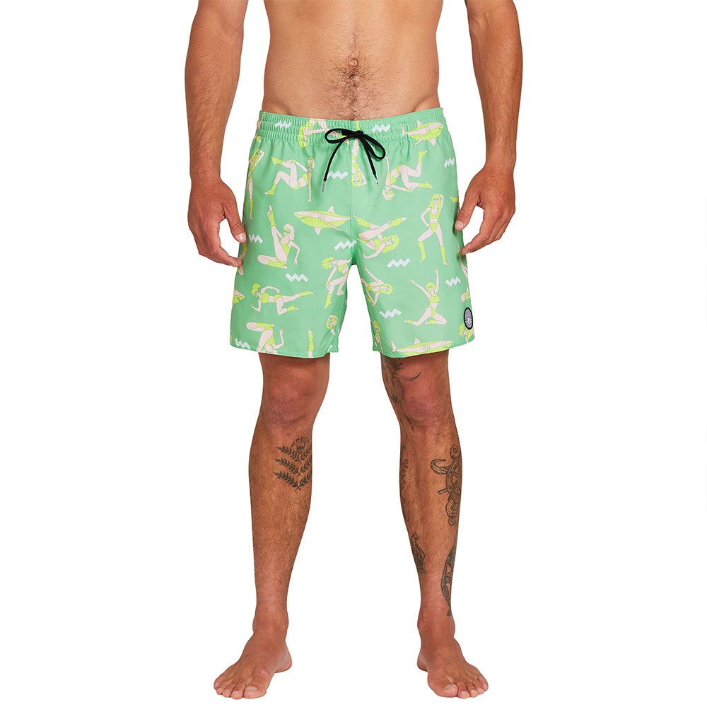 Volcom Mens Lido Solid 16 Swim Surf Trunk
