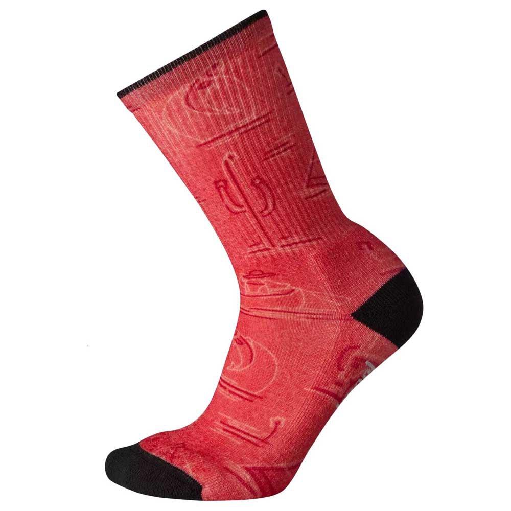 Smartwool Hike Light Down The River Print Socks EU 42-45 Bright Coral