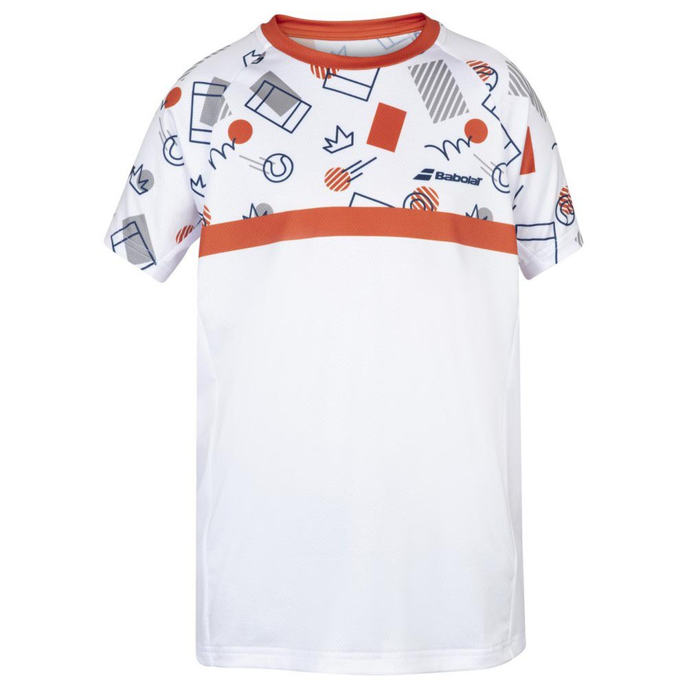 Babolat Compete Crew Neck 10-12 Years White / Pureed Pumpkin