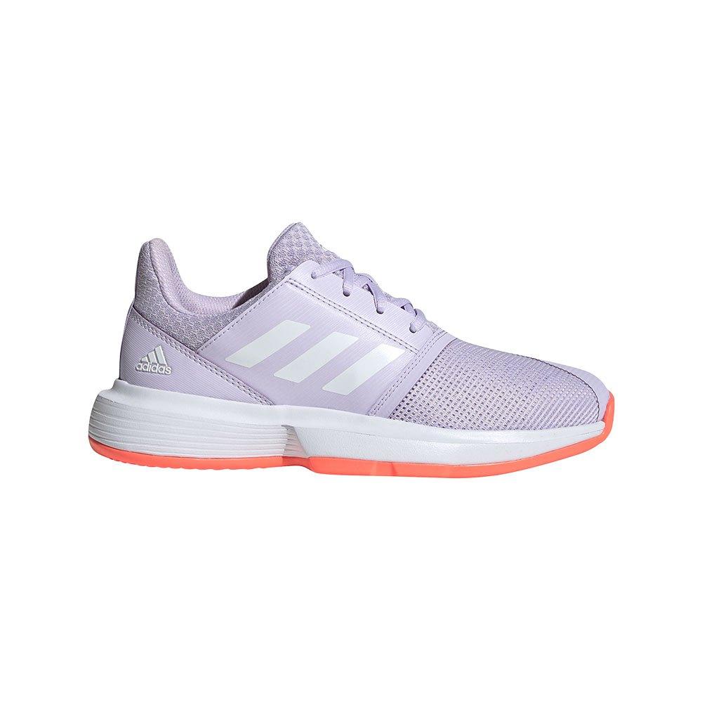 Adidas Court Jam X Junior EU 31 1/2 Purple Tint / Footwear White / Signal Coral