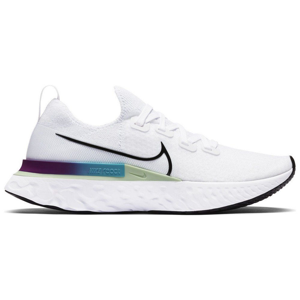 Nike React Infinity Run Flyknit EU 43 White / Black / Vapor Green / Oracle Aqua