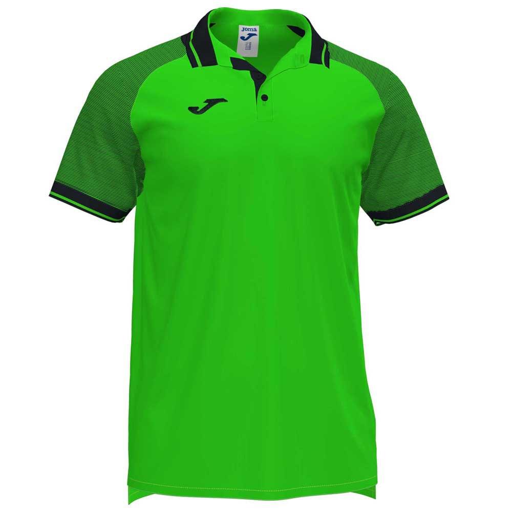 Joma Polo Manche Courte Essential Ii 12-14 Years Fluor Green / Black