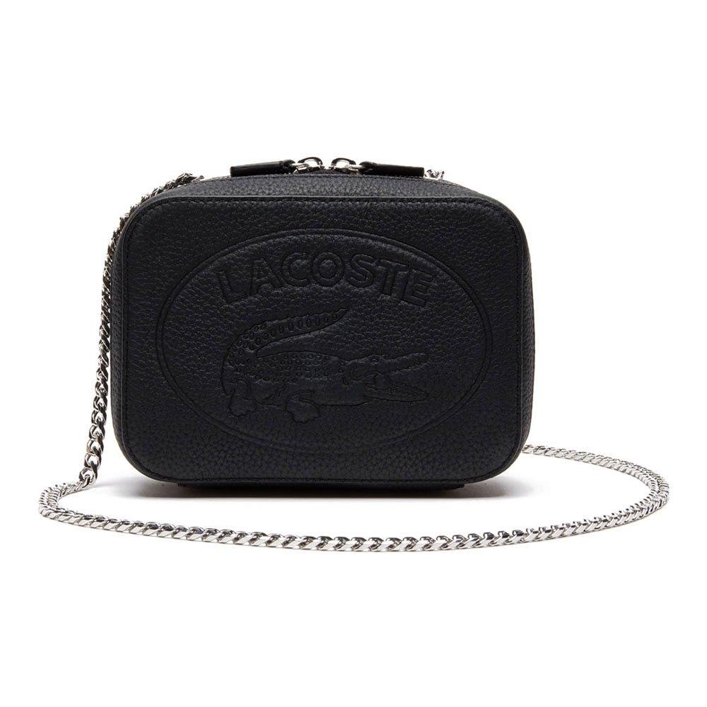 Lacoste Croco Crew Grained Leather Zip One Size Black