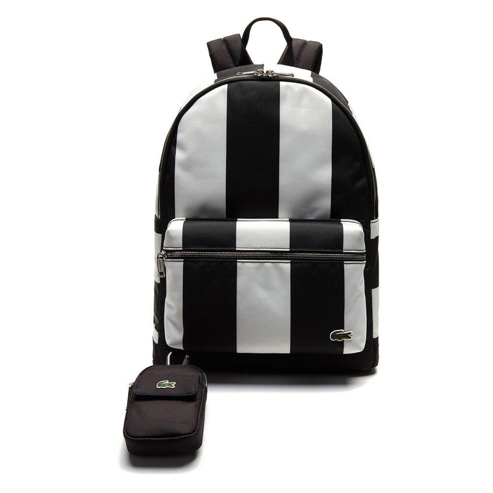 Lacoste Live Detachable Pouch Striped One Size Black / White